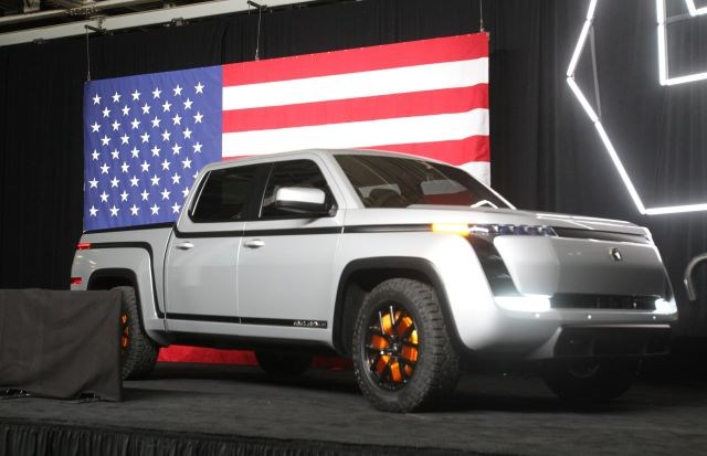 Lordstown Motors' new all-electric Endurance pickup truck was unveiled in June 2020 at the Lordstown plant. (William D. Lewis   Mahoning Matters)
