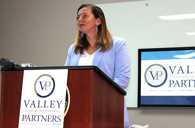Teresa Miller, executive director of the newly rebranded Valley Economic Development Partners, addresses reporters during a media conference Thursday, July 9, 2020, at the economic development agency's Belmont Avenue offices. (Justin Dennis | Mahoning Matters)