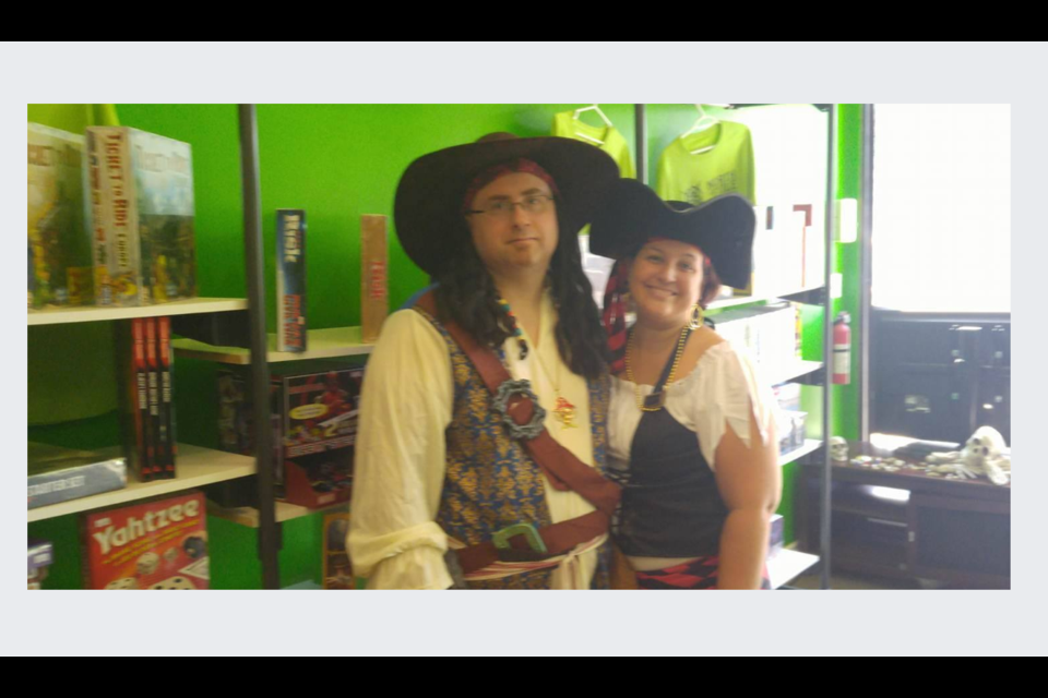 Jason Malott and Janis Freeman dressed up as pirates to celebrate the release of 'Ixalan' - a new set of cards for Magic: The Gathering. Submitted photo