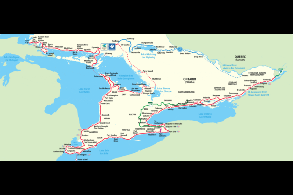 The Great Lakes Waterfront Trail offers cyclists a 3,600 km trails all over the province. Mehreen Shahid/MidlandToday