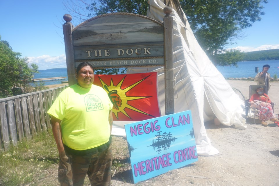 Johnny Hawke is pictured at his Thunder Beach encampment.
