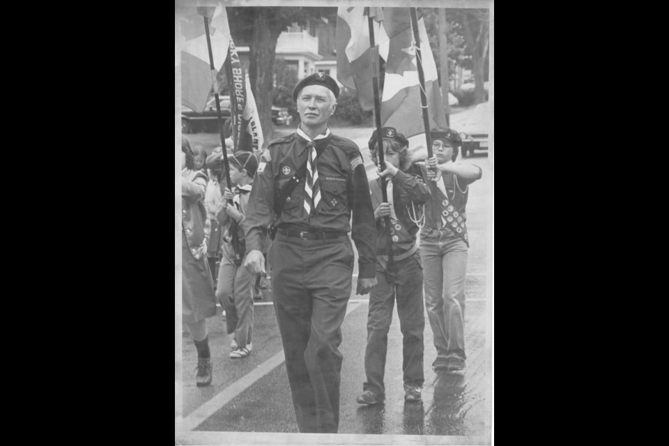 Reverend Lloyd Delaney and Midland Scout Troop, Governor General's Parade, 1981. Author's collection.