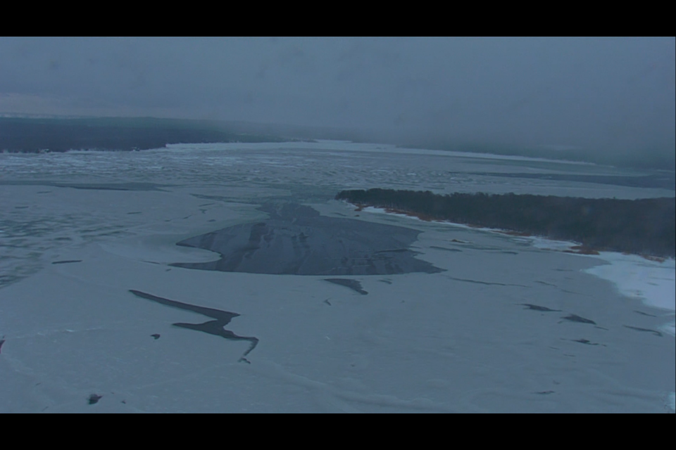 Beausoleil Island looking into Penetang Bay. Jan. 21, 2021.