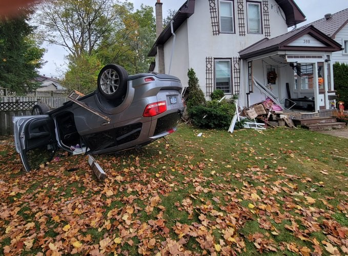 This vehicle went airborne before striking this home on Queen Street this morning.
