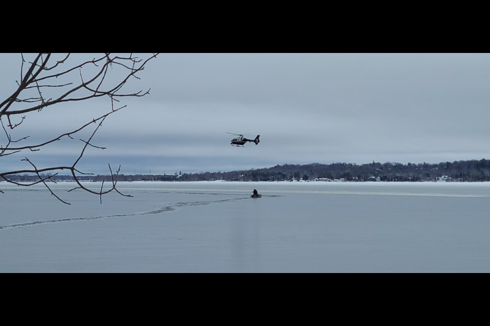 An OPP helicopter helped police divers pinpoint where to concentrate their recovery efforts about 100 metres from shore.