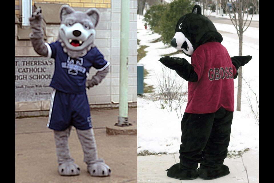 The mascots Storm the Thunder Wolf (left) of St. Theresa's Catholic High School, and GBoss the Bear (right) of Georgian Bay District Secondary School, stand proud in front of their respective institutions where they bring an element of fun and unity to the staff, students, and community at large. Derek Howard photo