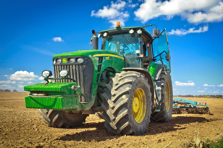 large tractor on farm getty images