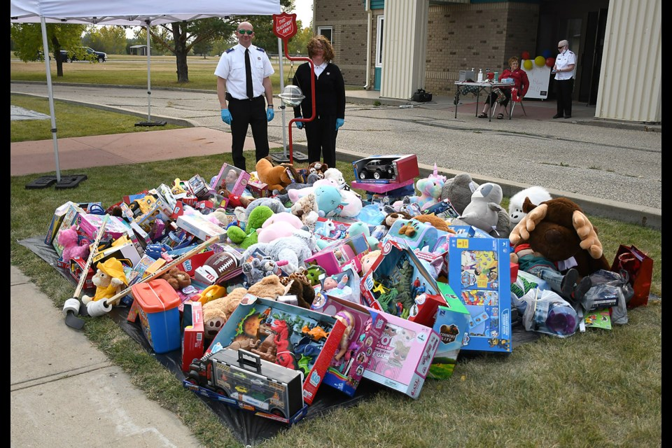 Lester and Almeta Ward with the Salvation Army pause for a photo with the impressive haul from the 2020 Moose Jaw Salvation Army Toy Drive.