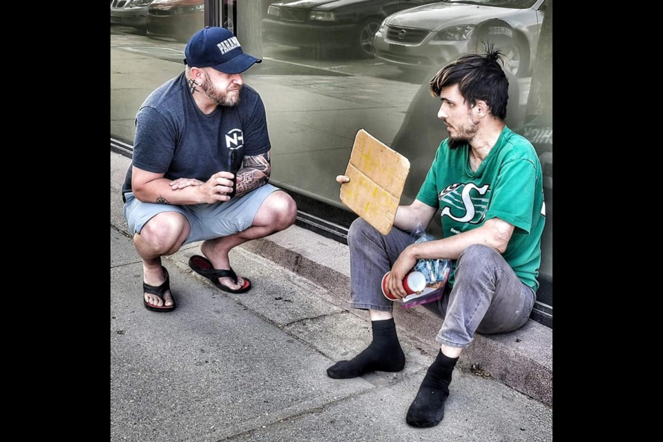 Nicholas Hennink chats with James as part of the ongoing 'Help Someone' Movement.