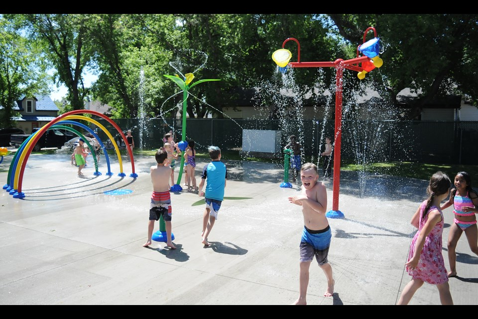 This could be a scene from the brand new Regal Heights Spray Park in the summer of 2023.