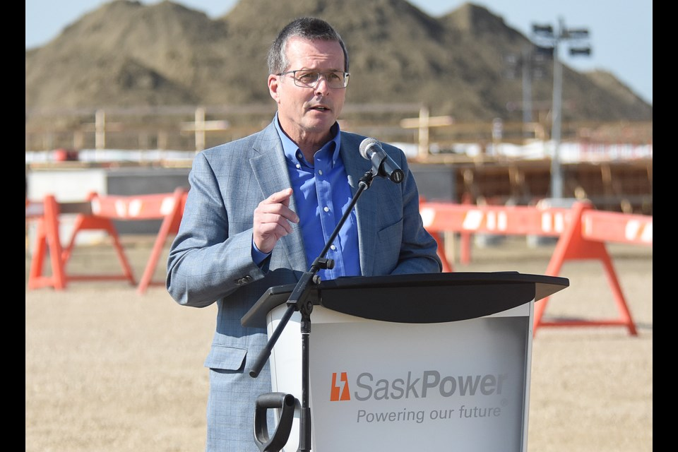 SaskPower president and CEO Mike Marsh speaks at the event officially launching construction of the Great Plains Power Station.