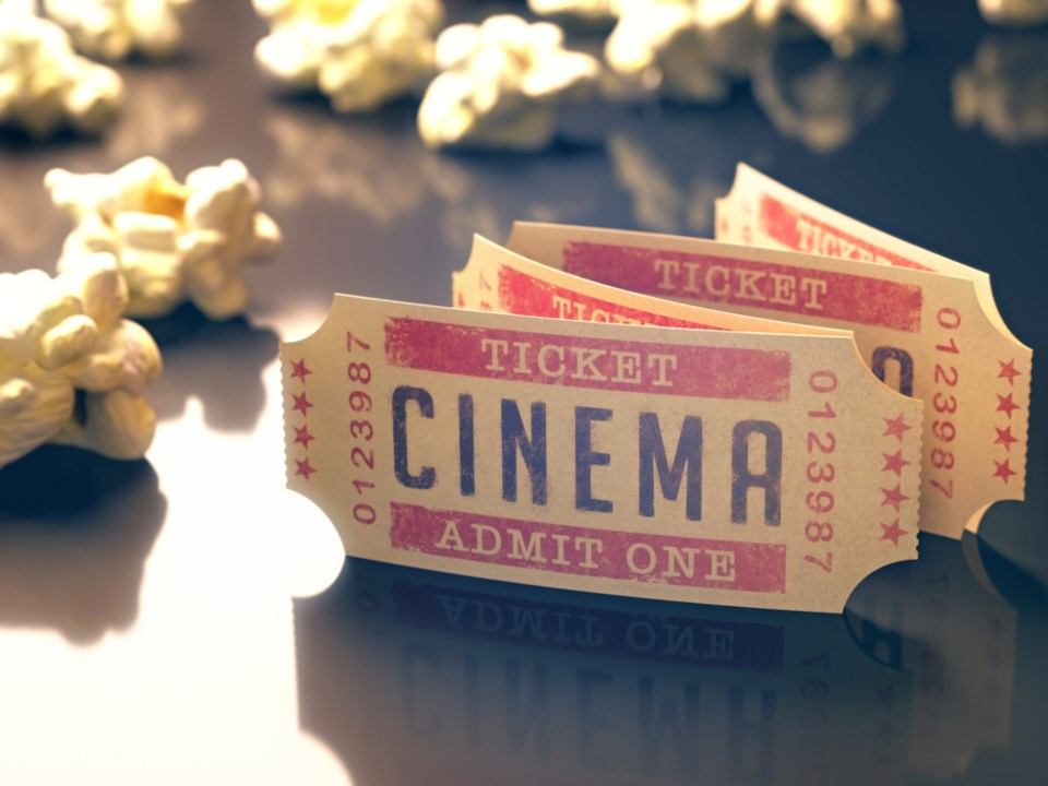 movie screening stock image