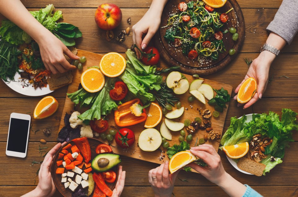 eating healthy together stock