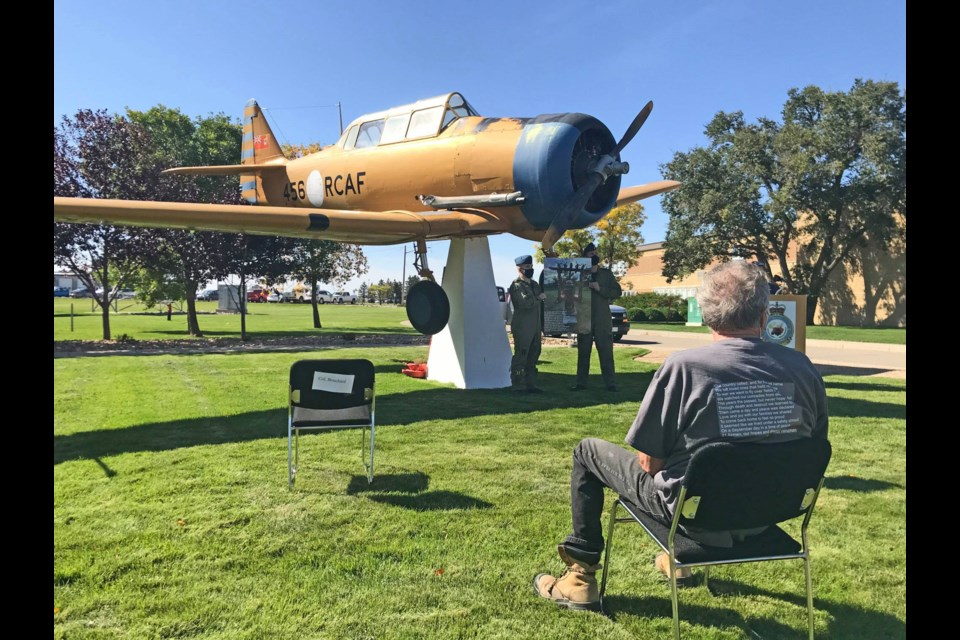 A ceremony at 15 Wing Air Base honours the 75th anniversary of a crash in Estevan that claimed the lives of 21 airmen coming back from Minot, N.D. Photo courtesy Facebook