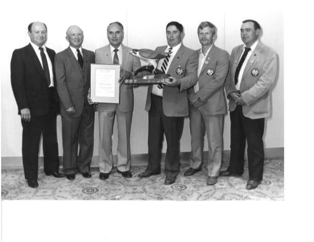 Saskatchewan Wildlife Federation received the Canadian Wildlife Federation's Doug Clarke Memorial Award for Outstanding Conservation Achievement in 1984:  L-R: Ed Begin, Ed Kennett, Frank Arnie, Keith Harde, Jim Kroshus, Lorne Scott. Submitted photo