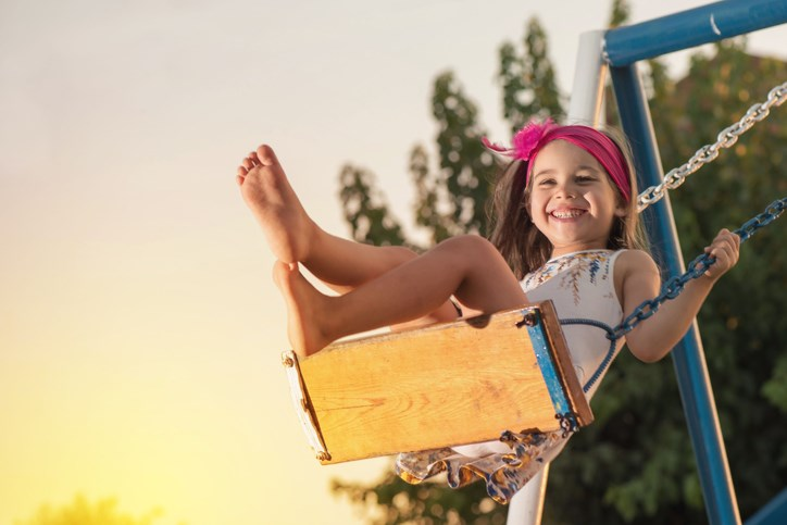 girl swinging playground getty images