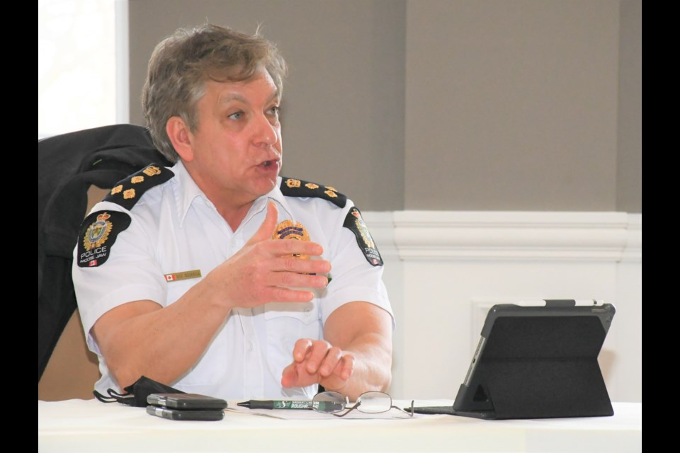 Police Chief Rick Bourassa talks about the crime statistics for 2020 during the Board of Police Commissioners' meeting on Jan. 12. Photo by Jason G. Antonio