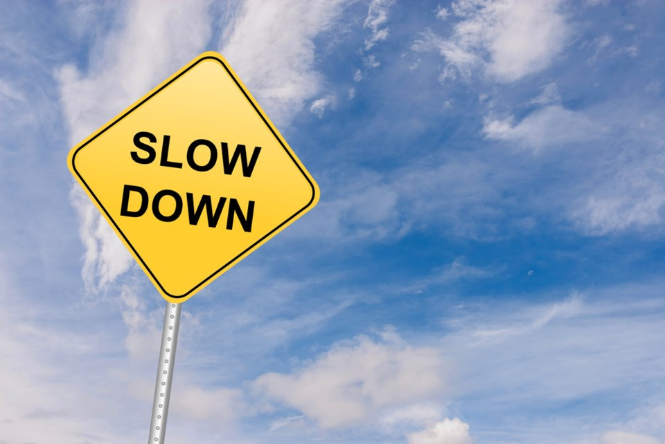 slow down sign stock image