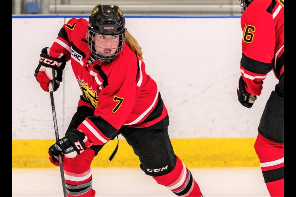 Josée Aitken, originally from Eyebrow, Sask., now plays hockey for the King's College Monarchs women's hockey team. She was recently inducted into the school's prestigious honour society. Photo courtesy King's College