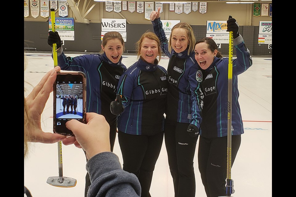 Penny Barker, Deanna Doig, Christie Gamble and Danielle Sicinski ham it up for the camera after winning the Moose Jaw SWCT stop.