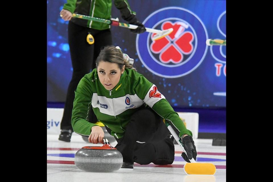 Robyn Silvernagle delivers a shot during Team Saskatchewan practice on Friday afternoon.