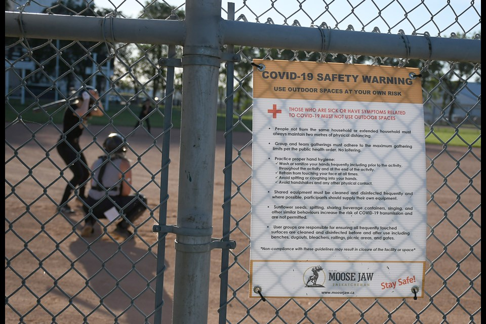 The City of Moose Jaw has signs up all around the fastball diamonds at Optimist Park.