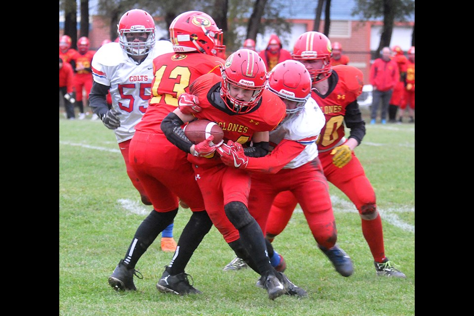 The Central Cyclones picked up a 35-30 win over the Swift Current Colts on Saturday. File photo