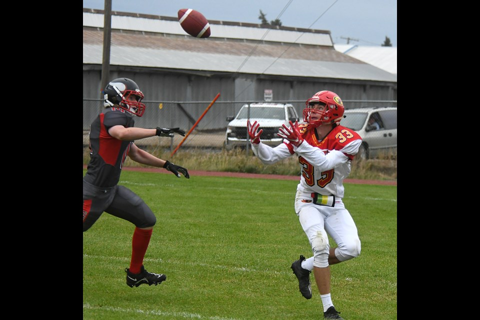 Cole Breitkreuz hauls in a pass for Central's first touchdown of the season