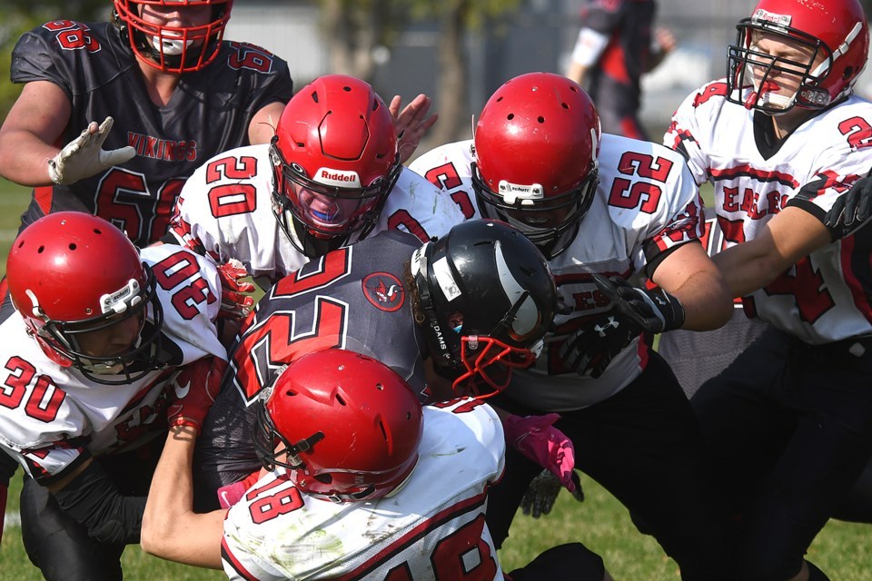 Vanier's Teagan Bennett didn't have a lot of running room on this play...