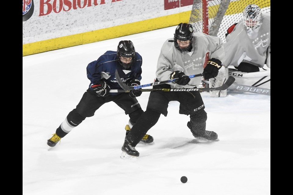 Action from the Moose Jaw Generals spring camp game between Team Navy and Team Gray on Sunday afternoon.