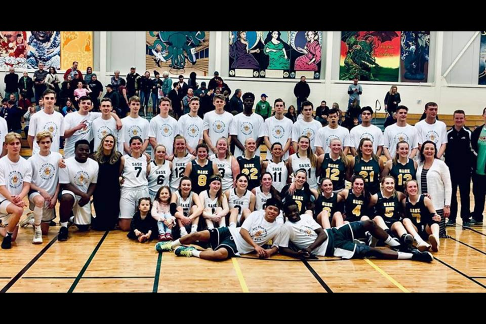 Four players from the Moose Jaw high school basketball league saw action in the recent Basketball Sask. Senior All-Star Classic this past weekend – Kyle Boughen and Riley Seaborn (middle row far left) from the Central Cyclones, Piper Ingalls (middle row, number six) of the Peacock Toilers and Brooklyn Martens (middle row, number seven) of Briercrest Christian Academy. (Basketball Sask photo)