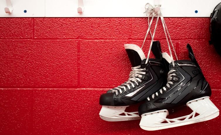 hockey skates locker room getty images