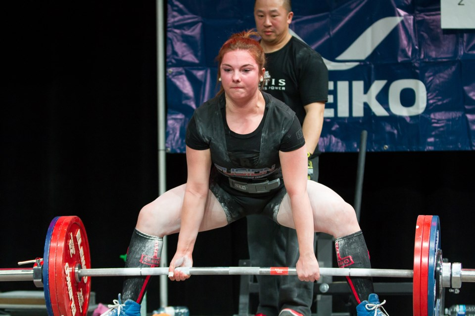 Moose Jaw's Kaylee Maruska in action during Canadian Powerlifting Union national championships earlier this year.