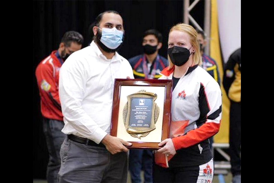 Moose Jaw's Rhaea Stinn was inducted into the North American Powerlifting Federation Hall of Fame at the recent Pan American championships.