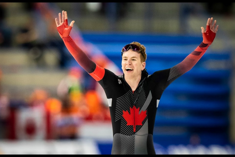 Moose Jaw's Graeme Fish celebrates after his 5,000 metres at World Cup #5 in Calgary on Sunday. Dave Holland / CSI Calgary photo
