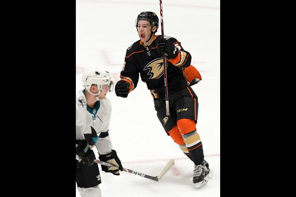 Brayden Tracey celebrates his game-tying goal for the Anaheim Ducks. AnaheimDucks.com photo