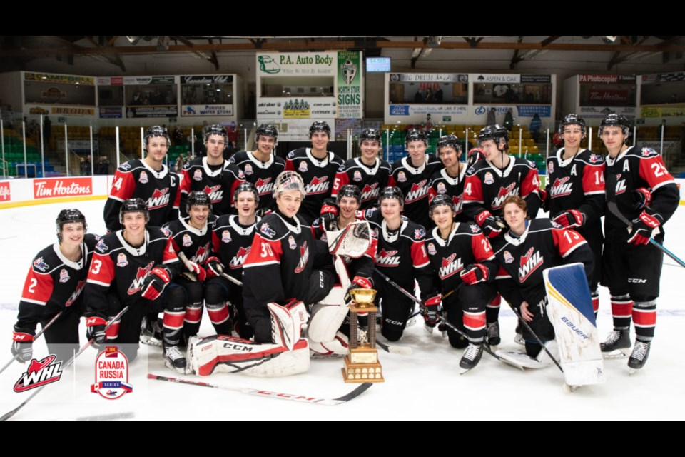 Team WHL gathers for a team photo after winning the Canada Russia Super Series. Steve Hiscock/WHL photo
