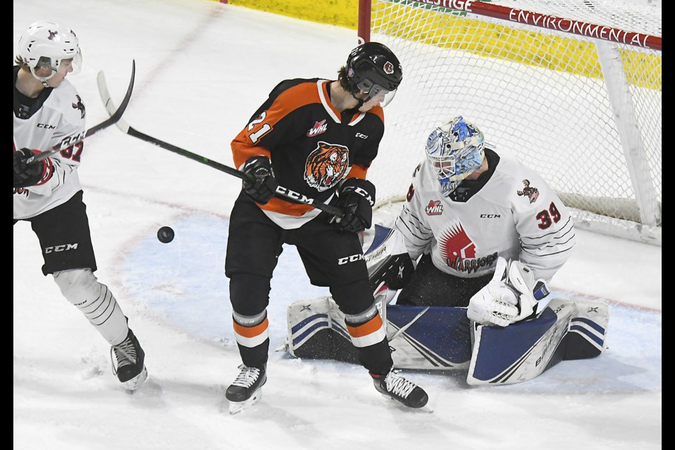 Moose Jaw Warriors goaltender Brock Gould, here in action against the Medicine Hat Tigers earlier this season, turned in a stellar performance in a losing effort against Spokane.