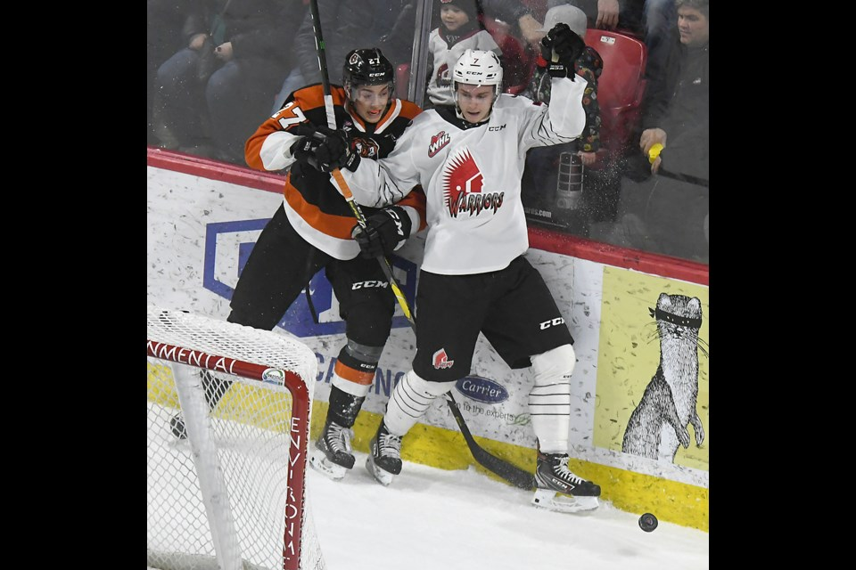 Moose Jaw Minor Hockey product Nolan Jones made his debut on defence for the Warriors on Saturday night.