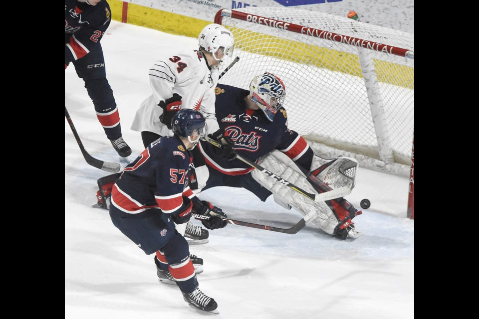 Carson Denomie, here scoring against Regina last season, was at it again on Friday night as he scored the game-tying goal.