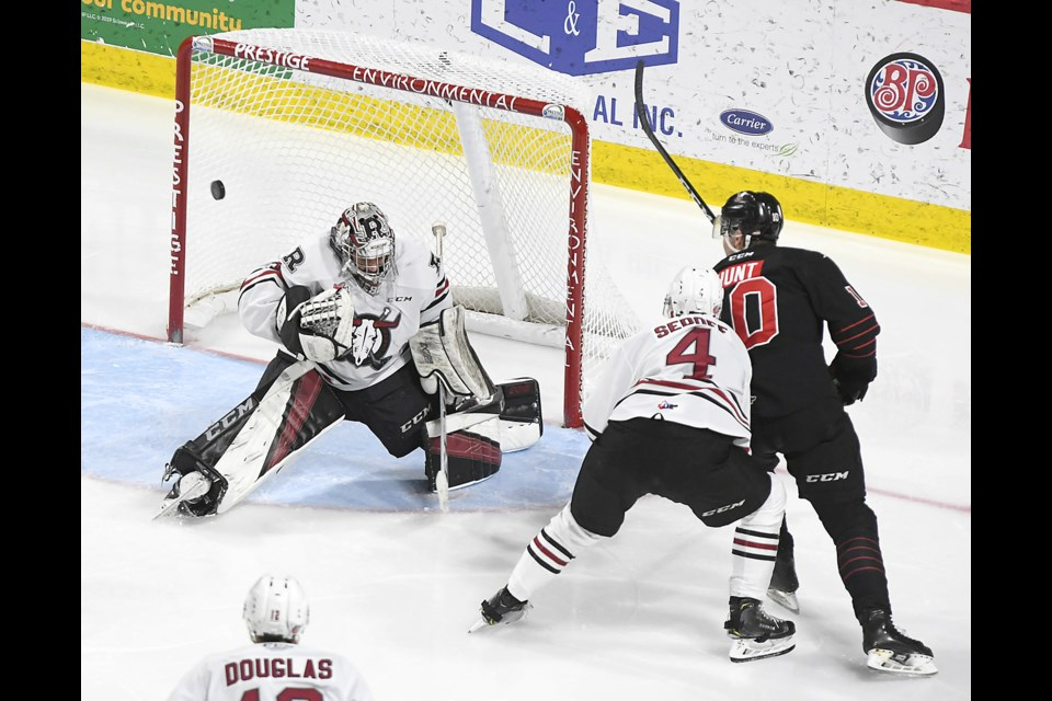 Warriors defenceman Daemon Hunt had a half-dozen scoring chances -- including this one in the second period.