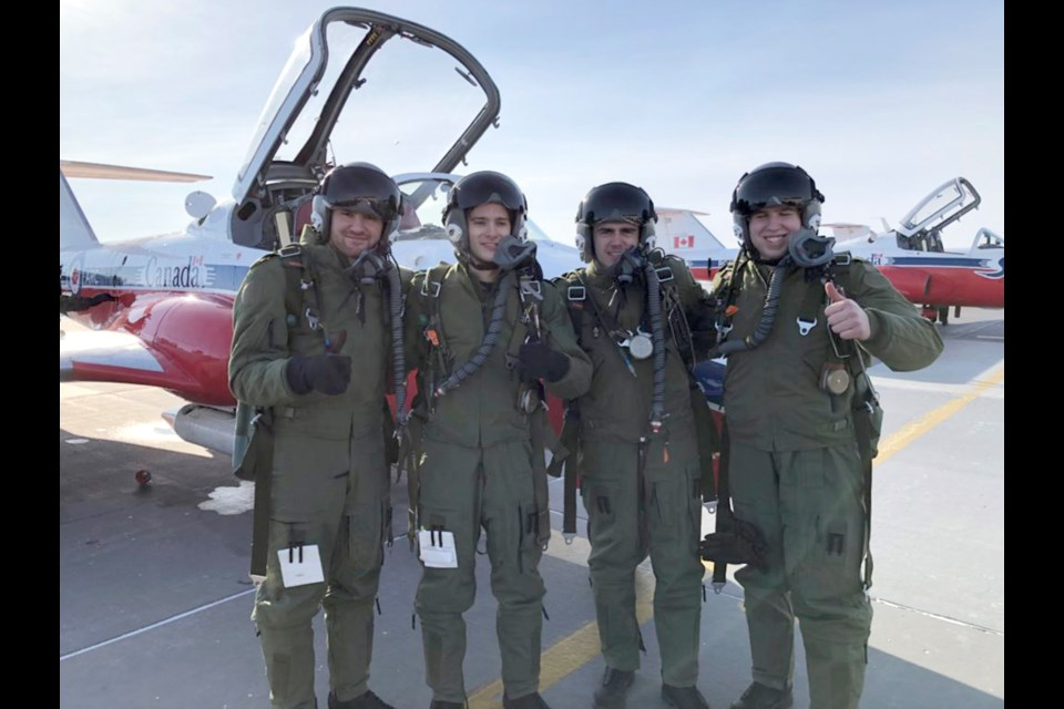 Moose Jaw Warriors Tristin Langan, Justin Almeida, Luke Ormsby and Brodan Salmond flew with the Snowbirds recently. Moose Jaw Warriors photo