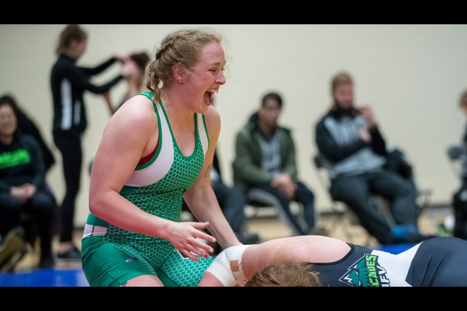 Taylor Follensbee came within a single win of a senior nationals wrestling bronze medal recently. University of Sasaktchewan photo.