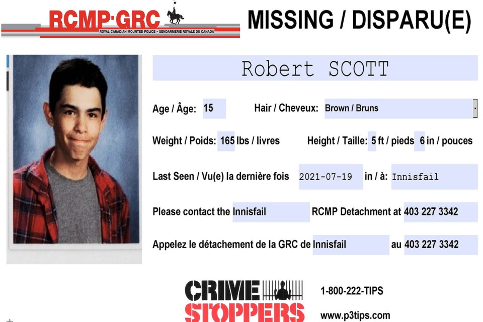 Innisfail RCMP was seeking the public's assistance to find 15-year-old Robert Scott.  Photo courtesy of Innisfail RCMP