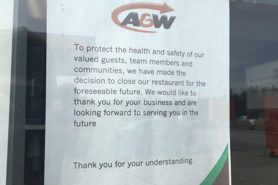 MVA A&W closed