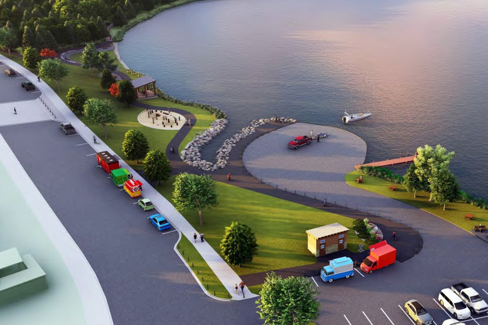 An artist rendering of the southwest side of Dodd's Lake after a projected $2.7 million dollars worth of amenity and infrastructure improvements. Courtesy of the Town of Innisfail