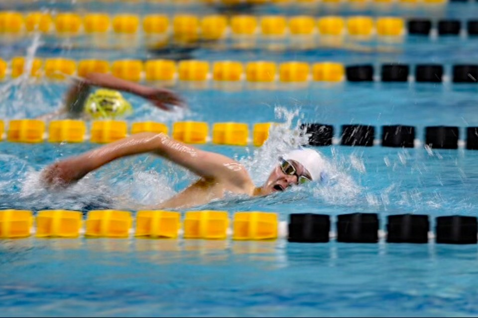 Mason Hickman, 15, a member of the Innisfail Dolphins swim club who lives east of Sundre, took home five medals at the meeting in Okotoks on July 17. The Innisfail squad sent 21 members to the meet, their first in two years. Submitted photo