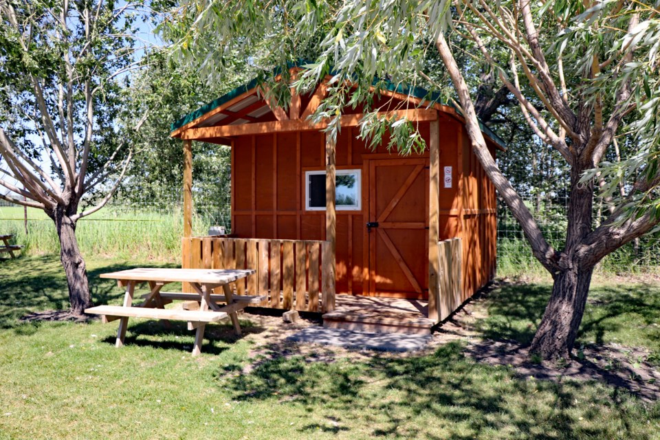 One of the six campground cabins now at Discovery Wildlife Park. The zoo's bid to have a development permit to build 10 more was approved by Innisfail town council on June 28. Johnnie Bachusky/MVP Staff