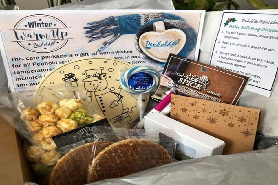 The Winter Warm-up Care boxes contained treats and community information for Penholders on how to make the most of the upcoming holiday season during the COVID-19 pandemic. Submitted photo