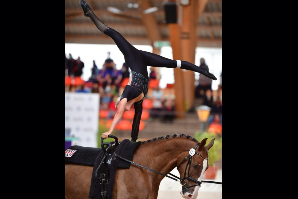 Averill Saunders, 17, who lives north of Sundre on an acreage in the James River area, beat not only her own personal record but also set a new Canadian milestone following her performance at the 2021 Junior World Vaulting Championships, which were recently hosted in Le Mans, France. Photo courtesy of Daniel Kaiser